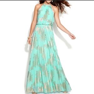 Xscape Mint Green & Gold Formal Dress Size 14